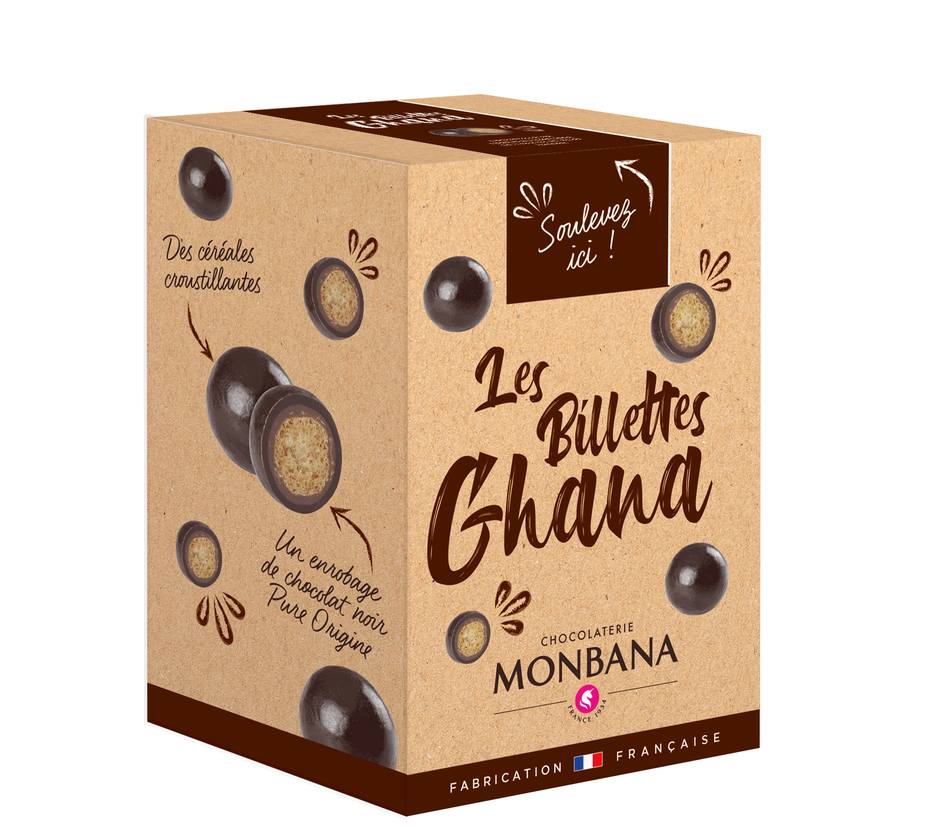 Croustille de céréales au chocolat noir 70% pure origine Ghana.